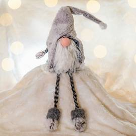 An enchanting soft grey faux fur gonk