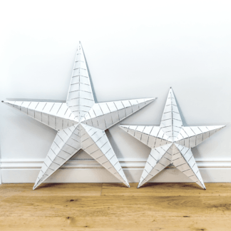 Whitewashed distressed metal barn stars