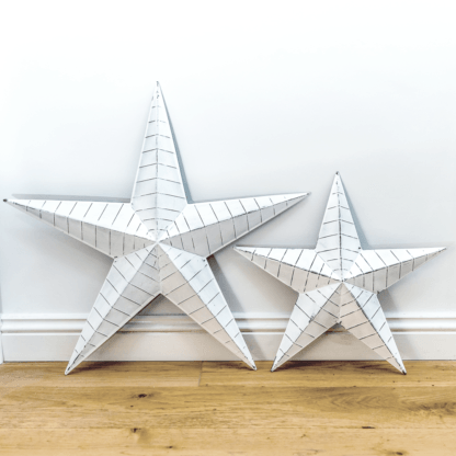 Whitewashed distressed metal barn stars