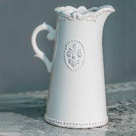 Ceramic Off-White Fleur De Lis Jugs
