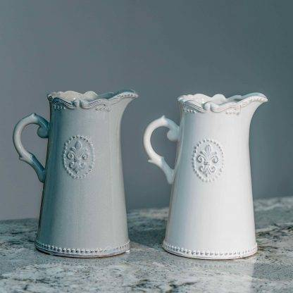 Ceramic Off-White or Grey Fleur De Lis Jugs