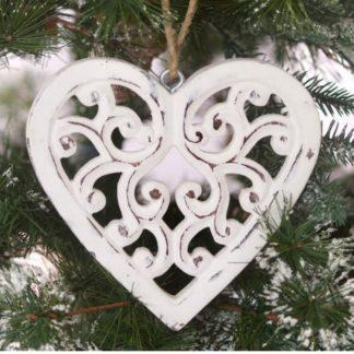 Filigree hanging heart, hand carved from mango wood and painted in a distressed vintage style white