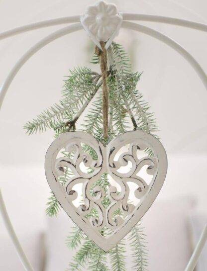 Filigree hanging heart decoration, hand carved from mango wood and painted in a distressed vintage style white