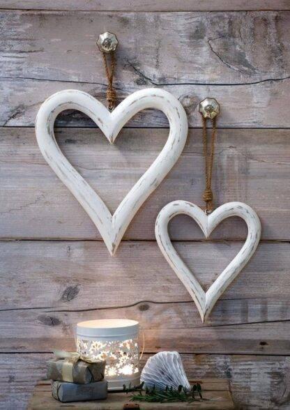 Shabby chic mango wood white hanging hearts