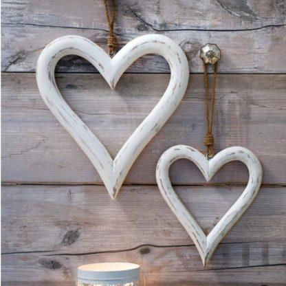 Shabby chic mango wood hanging hearts