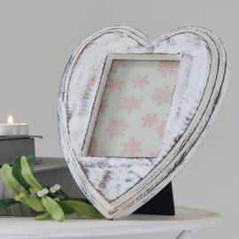 Heart shaped mango wood photo frame
