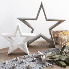 Beautiful set of grey and white mango wood freestanding stars