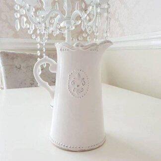 Ceramic Off-White Fleur De Lis French Inspired Jug