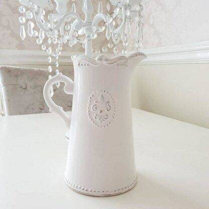 Ceramic Off-White Fleur De Lis French Inspired Jug