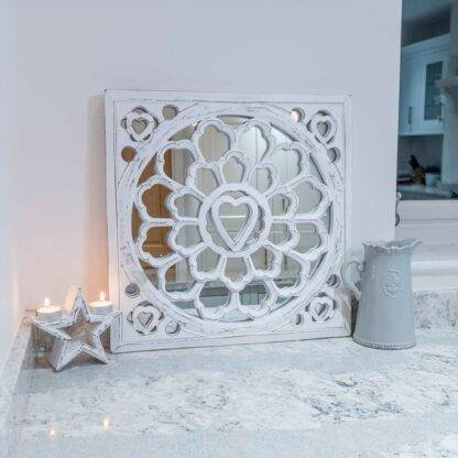 White distressed carved mirror