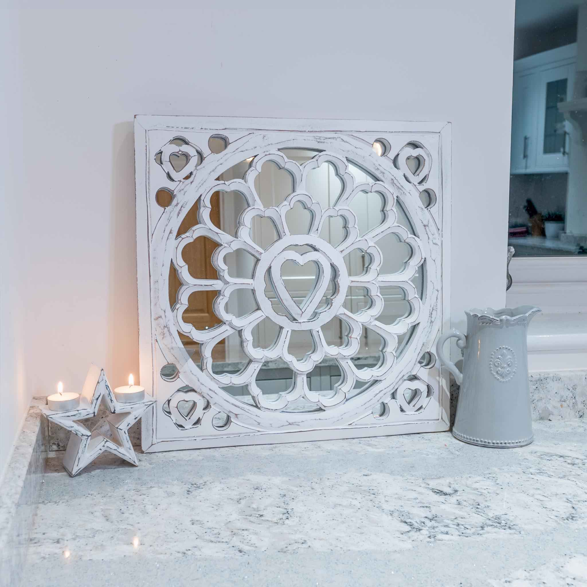 Distressed White Wall Mirror Panel