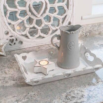 Ceramic Grey Fleur De Lis Jug - French Style