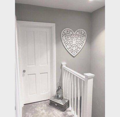White heart hand carved wooden wall panels