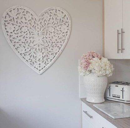 White heart wooden hand carved wall panel