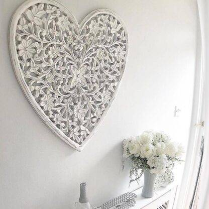 White hand carved heart wall panel
