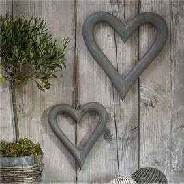Hanging mango wood heart in distressed grey