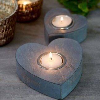 Grey heart tea light / candle holders