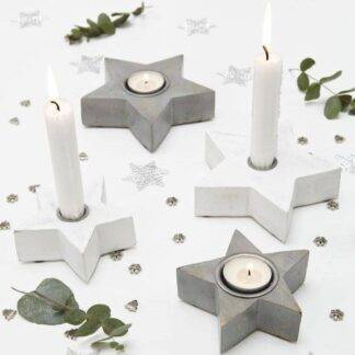 Grey and white star tea light / candle holders