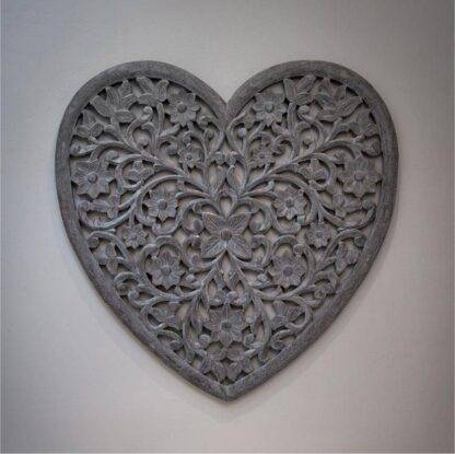 Grey heart hand carved wall panel