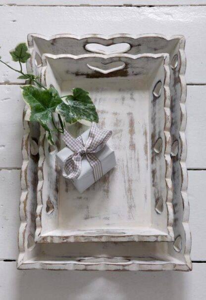Vintage white heart trays