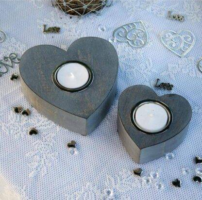 Set of grey heart tea light / candle holders