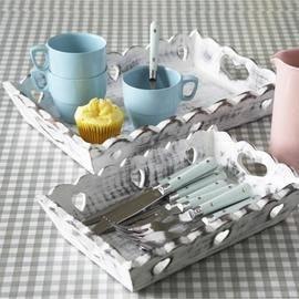 Shabby chic white wooden heart trays