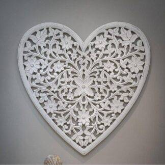 White heart hand carved wall panel