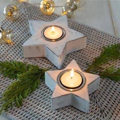 White star tea light / candle holders