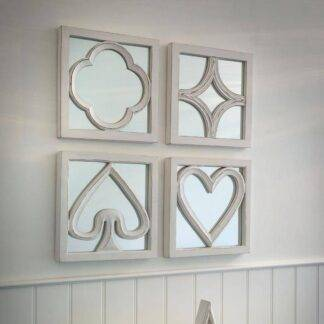 Set of four mirrors - white card suit design