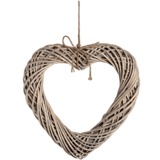 Large wicker heart wreath with lovely rope detail