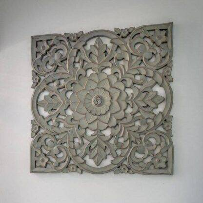 Large ornate grey hand carved wooden wall panel