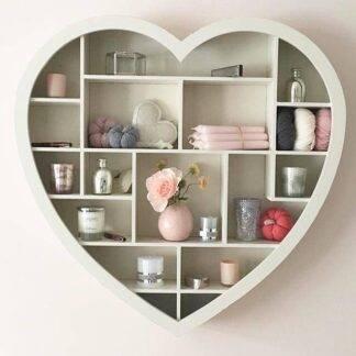 Cream wooden heart shelf