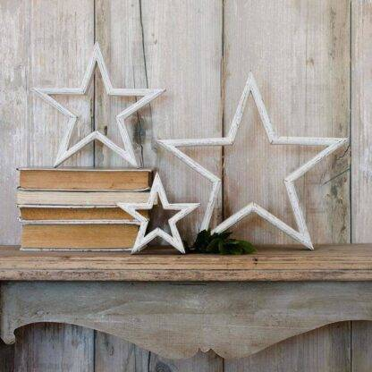 Set of 3 white wooden stars