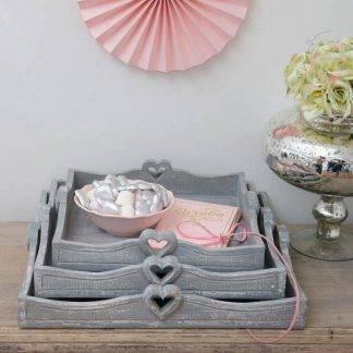 Grey square heart trays