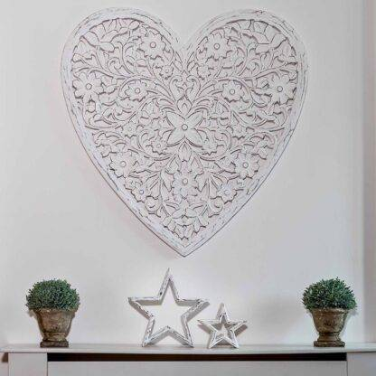 White Carved Wooden Heart - Mango Wood