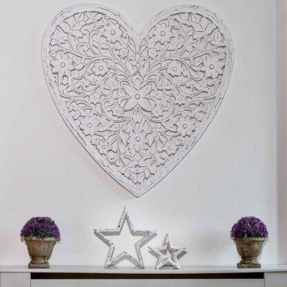 White Carved Wooden Heart - Mango Wood Wall Panel