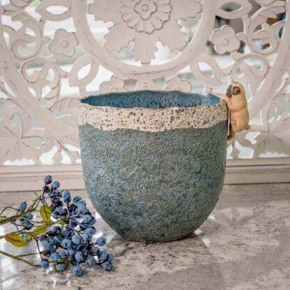 Blue and grey vase
