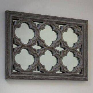 Grey ornate wall mirror