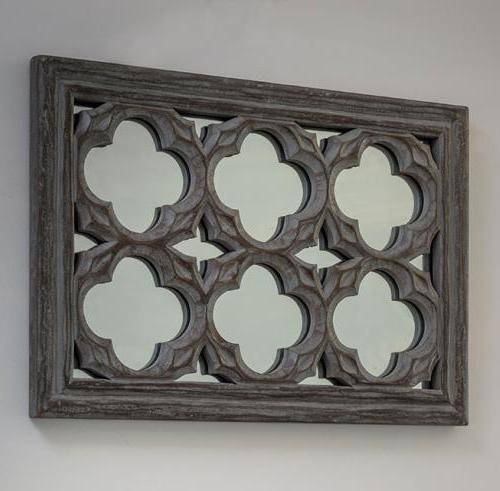 Grey ornate wall mirror