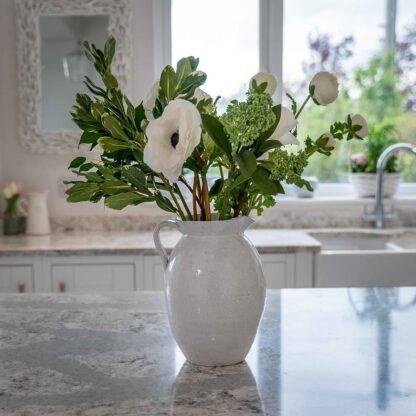 White Pitcher Vase Crackle Style