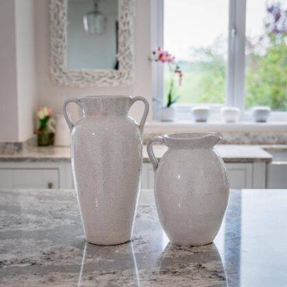 White Urn Vase Crackle Style