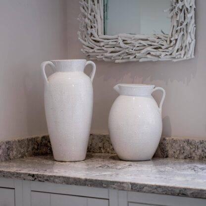 White Pitcher and Urn Vase