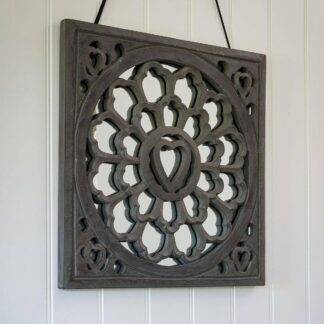 Grey distressed hand carved mirror