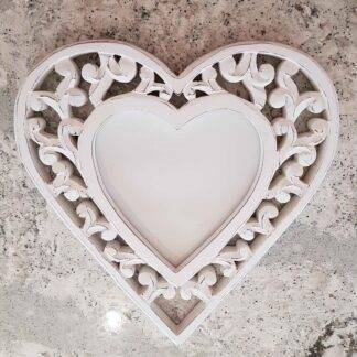 Heart shaped filigree wooden photo frame