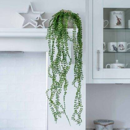 Faux Hanging Potted Pearl Spray