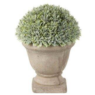 Faux Green Boxwood Potted in a Stone Effect Urn