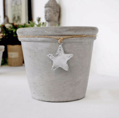 Concrete Grey Pot with Hanging Star