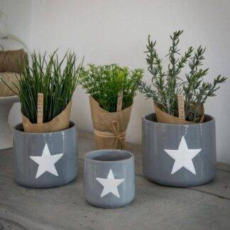 Grey and white star storage pots