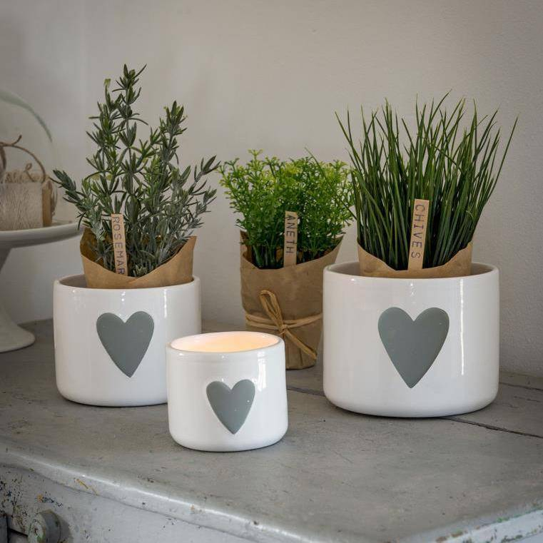 White and grey heart storage pots