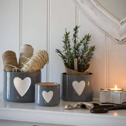 Grey and white heart storage pots